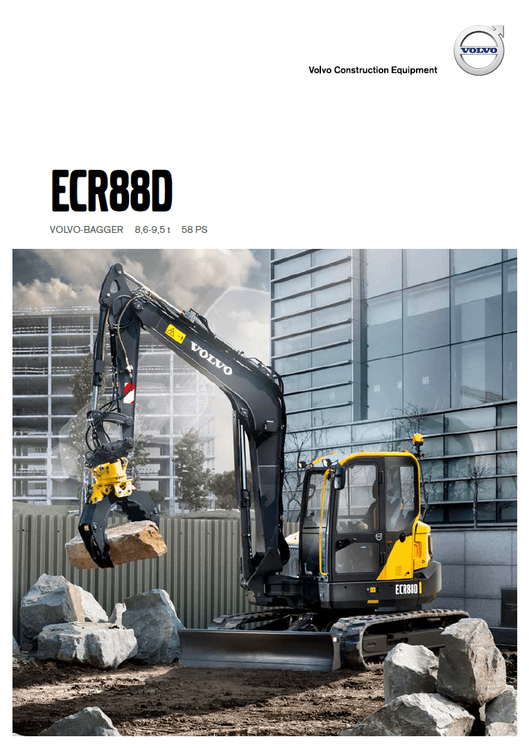 Volvo Kompaktbagger ECR88D Produktbroschüre Vorderseite